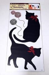 Samolepky pokoj. kočky černé, 60x32 cm /937/