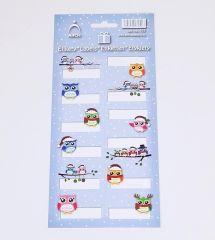 Samolepky Vánoční etikety na dárky - SOVY / 705