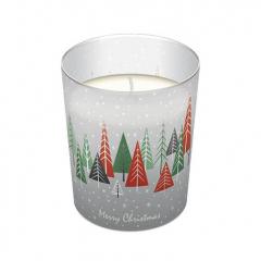 Vánoční svíčka ve skle Snowy Forest
