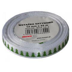 Stuha atlasová - vánoční 12mm bílá
