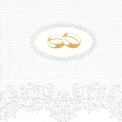 Svatební ubrousek Wedding Rings with Silver Ornaments