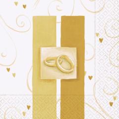 Papírový svatební ubrousek Wedding rings gold