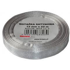 Stuha atlasová - vánoční 12mm stříbrná