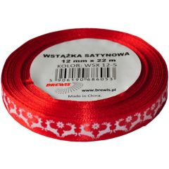 Stuha atlasová - vánoční 12mm červená