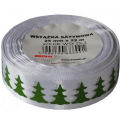 Stuha atlasová - vánoční 25mm bílá