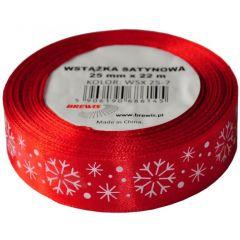 Stuha atlasová - vánoční 25mm červená