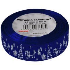 Stuha atlasová - vánoční 25mm modrá