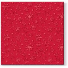 Vánoční papírový ubrousek Inspiration Winter Flakes - červený