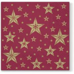 Vánoční papírový ubrousek Beautiful Stars - tmavě červený