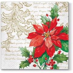 Vánoční papírový ubrousek Stylish Poinsettia - bílý