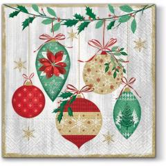 Vánoční papírový ubrousek Vintage Baubles