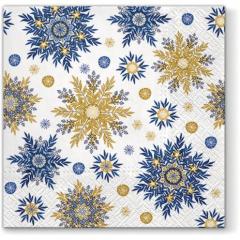 Vánoční papírový ubrousek Snowflakes - modrý