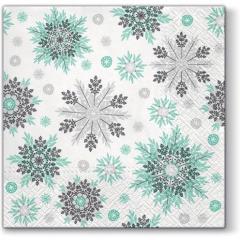 Vánoční papírový ubrousek Snowflakes - mátový