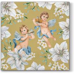 Vánoční papírový ubrousek Angels in Flowers - zlatý