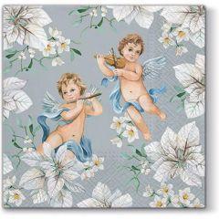 Vánoční papírový ubrousek Angels in Flowers - stříbrný