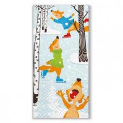 Vánoční papírový kapesníček Skating Foxes