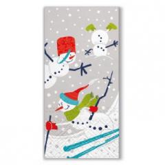 Vánoční papírový kapesníček Skiing Snowmen