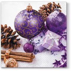 Vánoční papírový ubrousek Purple Baubles