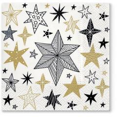Vánoční papírový ubrousek Geometric Stars