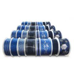 Vánoční stuhy s drátkem - modré