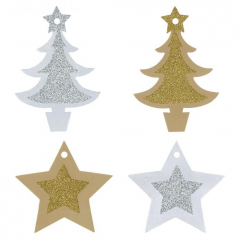 Jmenovka s brokátem - hvězdy, stromky