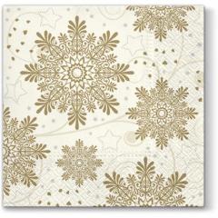 Vánoční papírový ubrousek Snowflakes - zlatý