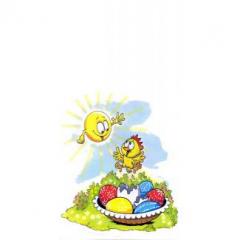 Velikonoční sáček s vloženým dnem - Kuře a kraslice