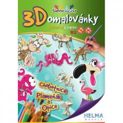 3D omalovánky Chobotnice, plameňák, opice