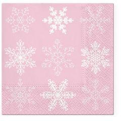 Vánoční papírový ubrousek Snowflakes - růžový