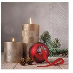 Vánoční papírový ubrousek - Candles with a Bauble