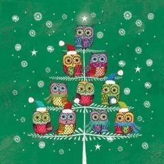 Vánoční papírový ubrousek - Owls