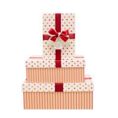 Dárkové krabice s puntíky červeno-oranžové - 3 ks