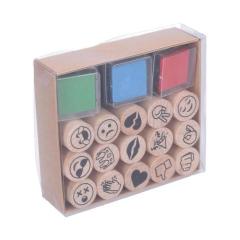 Dřevěná razítka Mix + 3 podušky