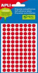 Etikety, fluorescentní červené, kruhové, průměr 8 mm, 288 etiket/balení, APLI ,balení 3 ks