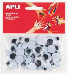 Samolepící pohyblivé oči Creative, černá-bílá, APLI ,balení 75 ks