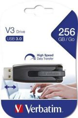 USB flash disk V3, černá-stříbrná, 256GB, USB 3.0, 80/25 MB/sec, VERBATIM