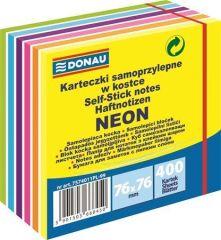 Samolepicí bloček, 76x76 mm, 400 lístků, DONAU, neonové a pastelové barvy
