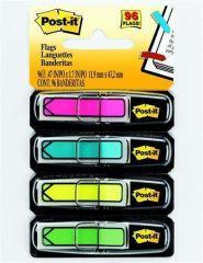 Záložky se zásobníkem, mix neonových barev, 12x43 mm, 4x24 listů, tvar šipky, 3M POSTIT ,balení 96 ks