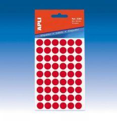 Etikety, červené, kruhové, průměr 8 mm, 288 etiket/balení, APLI ,balení 5 ks
