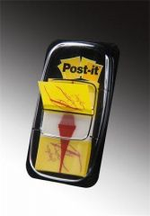 Záložky se zásobníkem, žlutá s grafikou, 25x43 mm, 50 listů, 3M POSTIT ,balení 50 ks