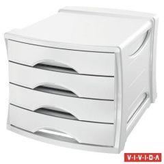 Zásuvkový box Europost, 4 zásuvky, Vivida bílá, plast, ESSELTE