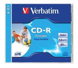 CD-R 700MB, 80min., 52x, Printable, Verbatim, jewel box
