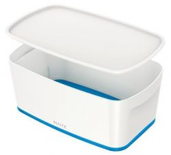 Úložný box s víkem MyBox, bílo-modrá, malý, LEITZ