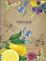 Spirálový sešit Vintage, mix, B6, čtverečkovaný, 120 listů, SHKOLYARYK_