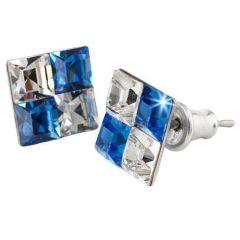 Náušnice SWAROVSKI®, modro-bílá, křišťál, hranaté, 8 mm, ART CRYSTELLA®