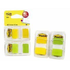 Záložky se zásobníkem, žlutá a zelená,  25x43 mm, 2x50 listů, 3M POSTIT ,balení 100 ks
