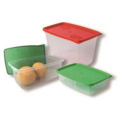 Dóza na potraviny s víkem, plast, 3 ks, SET A (0,5l0,8l1,2l) ,balení 3 ks