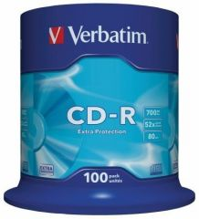 CD-R 700MB, 80min., 52x, DL Extra Protection, Verbatim, 100-cake ,balení 100 ks
