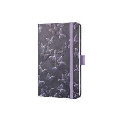 Exkluzivní zápisník Jolie, fialová, motiv motýlci, 95x150 mm, tvrdé desky, linkovaný, SIGEL