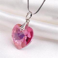 Náhrdelník, SWAROVSKI® Crystals, růžová, tvar srdce, ART CRYSTELLA